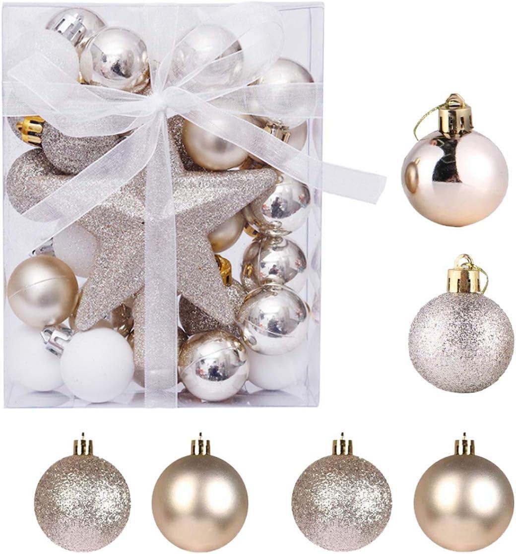 Senteen Bolas de Navidad Doradas 30PCS Bolas de Arbol de Navidad Adorno Adornos Copa del Arbol de Navidad, para De Navidad Bodas Y Fiestas