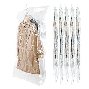 SunHorde Hanging Space Bags Vacuum Storage Bags for Clothes, Dress, Winter Coats, 6 Pack 53.1x27.6 inch, Large Reusable Garment Protector