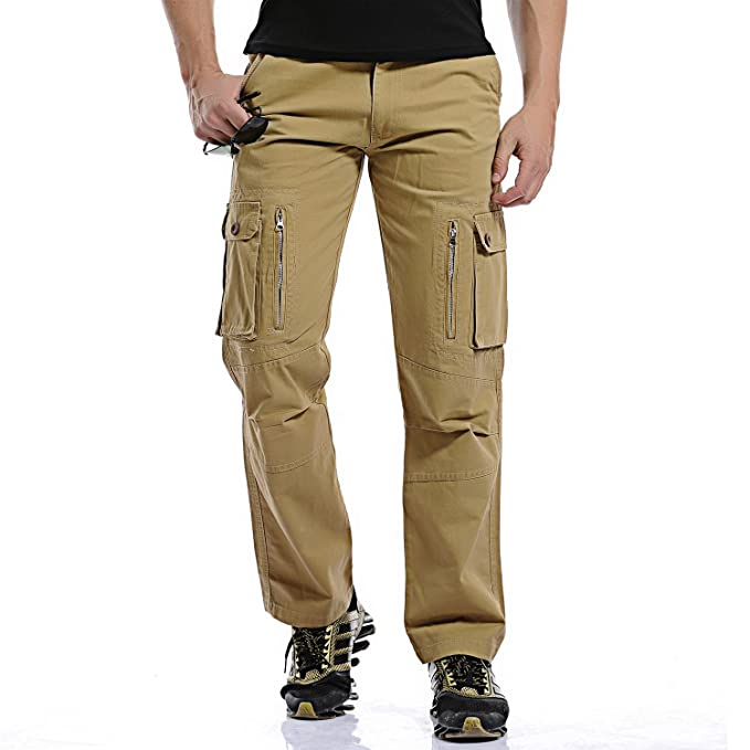 well known cozy fresh competitive price crazyplayer Men's Cargo Plain Trousers - - W44: Amazon.co.uk ...