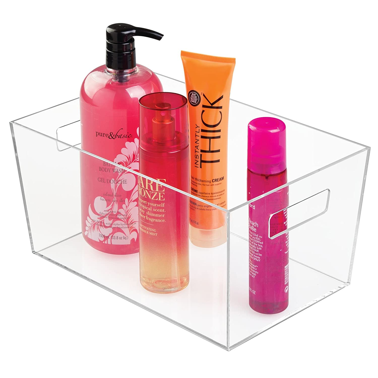 mDesign Bathroom Modern Plastic Storage Organizer Bin Tote Basket with Handles for Organizing Hand Soaps, Body Wash, Shampoos, Conditioners, Hand Towels - Large, Clear MetroDecor