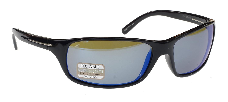 Serengeti Pisa Ligero Gafas de Sol, Negro Brillante, PhD Polar 555 NM fotocromáticas polarizadas Azul Espejo Lentes