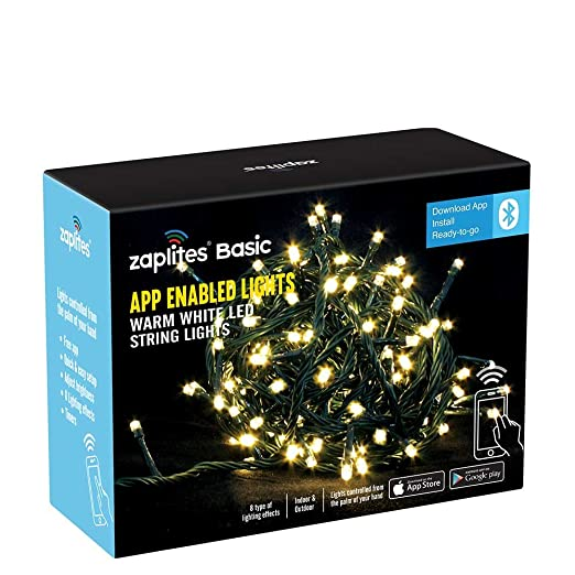 zaplites basic 200 led app controlled christmas string lights warm white