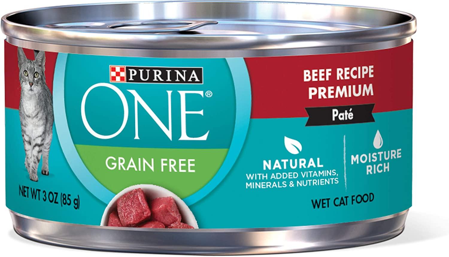 Purina ONE Natural, High Protein, Grain Free Pate Wet Cat Food, Beef Recipe - (24) 3 oz. Pull-Top Cans