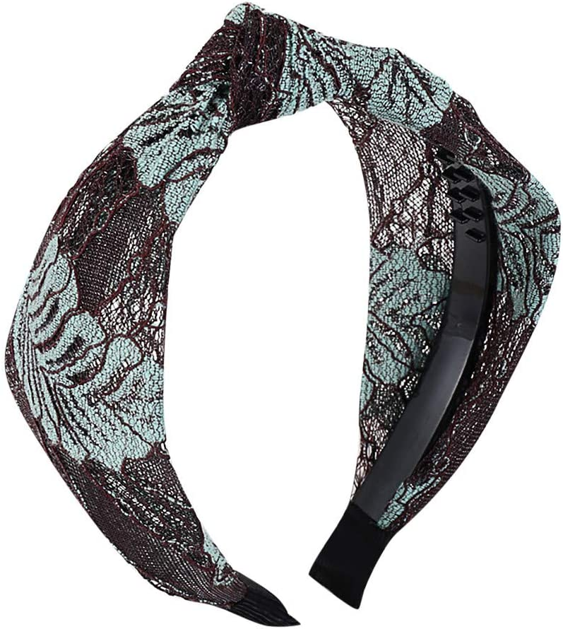Sruiluo Women Hairband Bow Knot Lace Floral Print Retro Hair HeadHoop 5 Style Choice