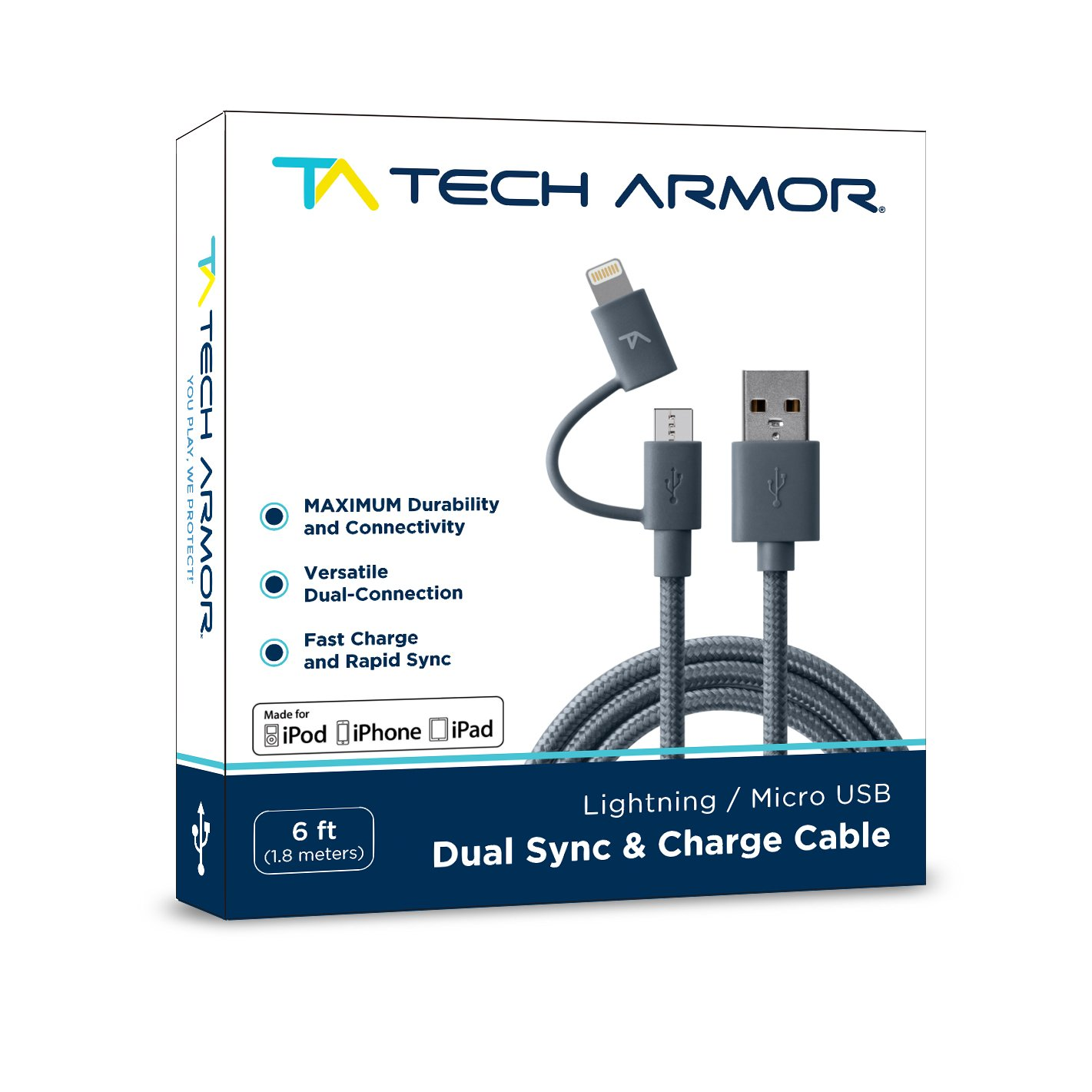 Tech Armor Dual (Lightning/Micro) USB Sync/Charge Cable Compatible with Apple and Android, Tough-Braided Strong Jacket - Space Gray, 6 Feet