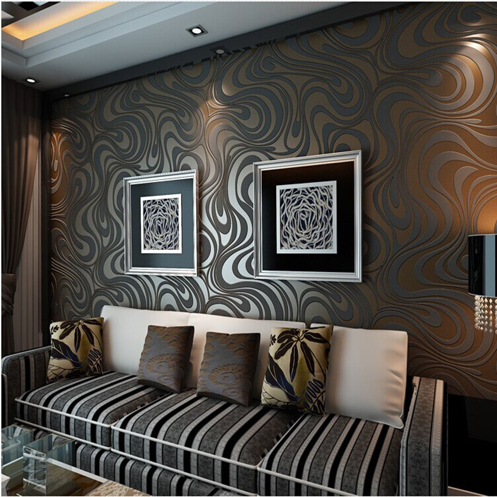 10M Modern Luxury Abstract Curve 3d Wallpaper Roll Mural Paper Parede Flocking for Striped Black&brown Color 0.7m*8.4m=5.88SQM