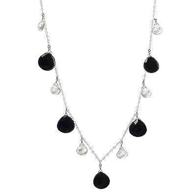 73c40bb50 Amazon.com: ASHANTI Black Onyx and Rock Crystal Quartz Natural ...