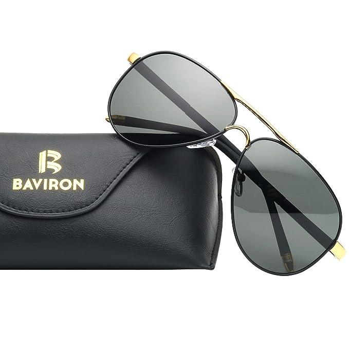 2462e19b0b9 BAVIRON Mens Aviator Sunglasses Polarized Military Mirrored Pilot Retro  Glasses UV400(Black Gold Grey