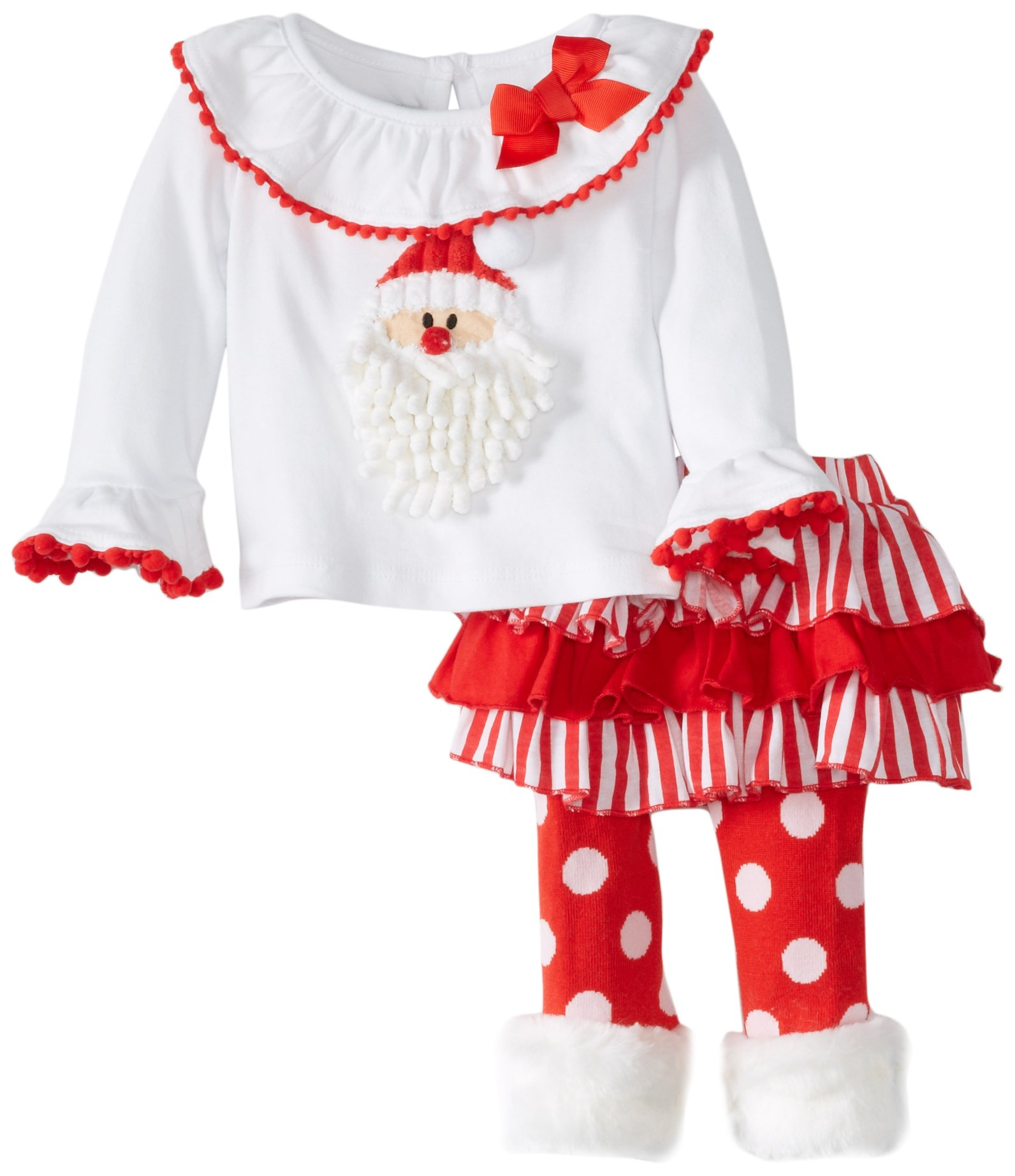 Amazon.com: Mud Pie Baby Girls\' Santa Skirt Set with Dot Legging ...
