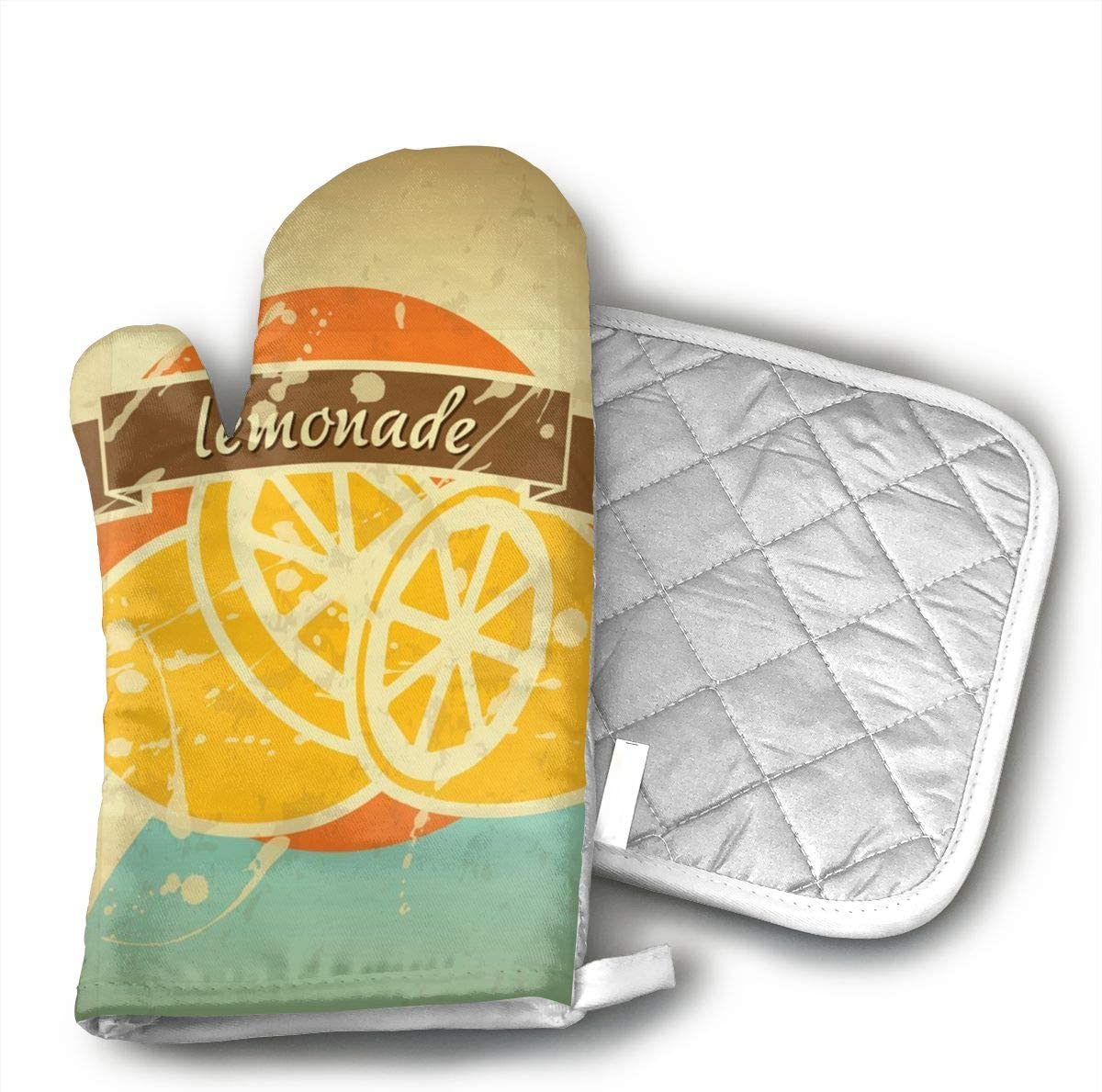 Wiqo9 Lemonade Retro Poster Oven Mitts and Pot Holders Kitchen Mitten Cooking Gloves,Cooking, Baking, BBQ.