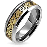 Bling Jewelry Mens Tungsten Comfort fit Negro Oro Inlay Celtic Dragon Motif Anillo de Boda Acabado Pulido de Banda 8mm