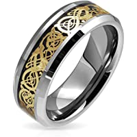 Golden Black Silver Two Tone Celtic Knot Dragon Inlay Couples Wedding Band TungstenRingsforMen for Women 8MM