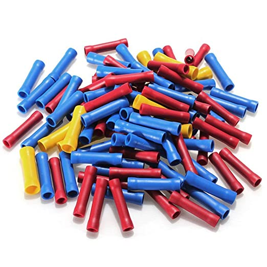 50X 22-16AWG Fully Insulated Straight Butt Connector Electrical Crimp Terminals