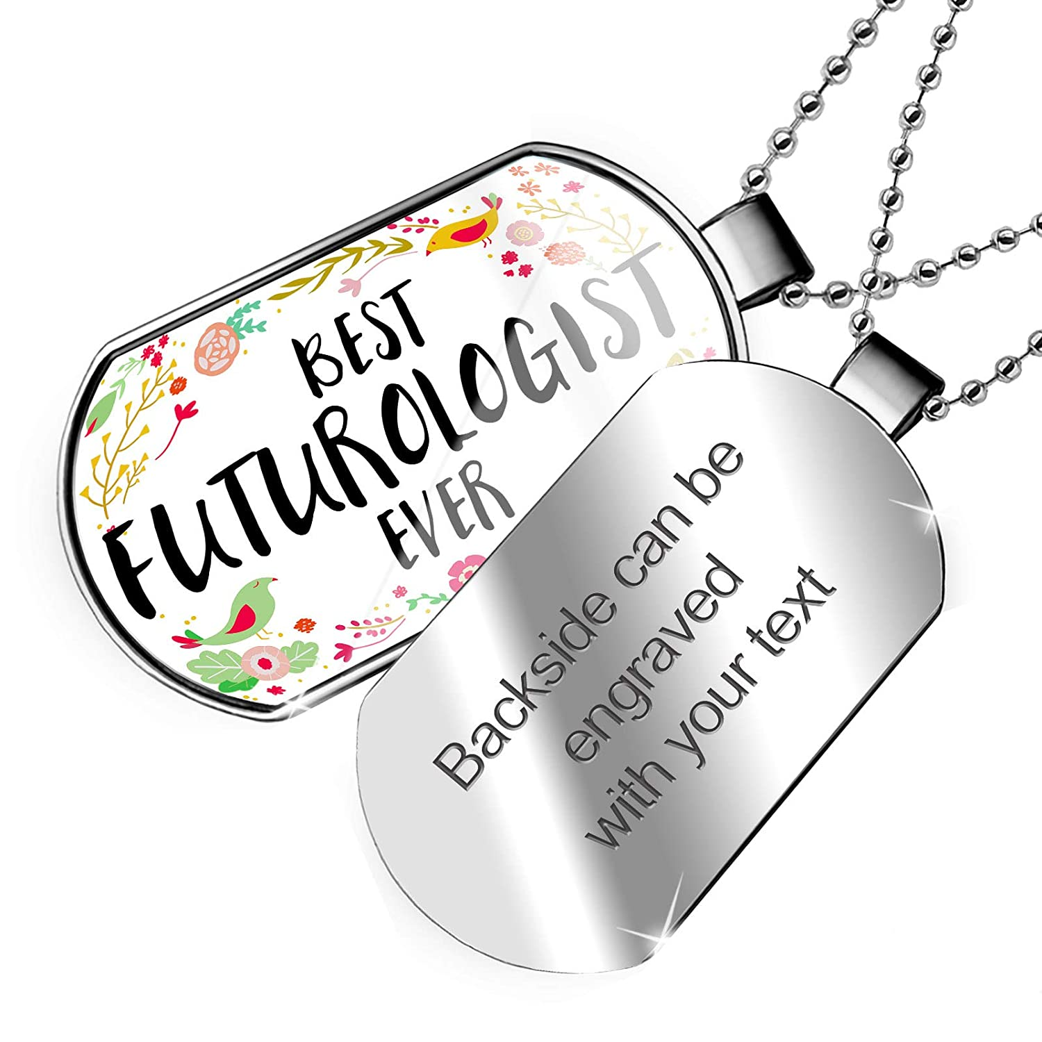 NEONBLOND Personalized Name Engraved Happy Floral Border Futurologist Dogtag Necklace