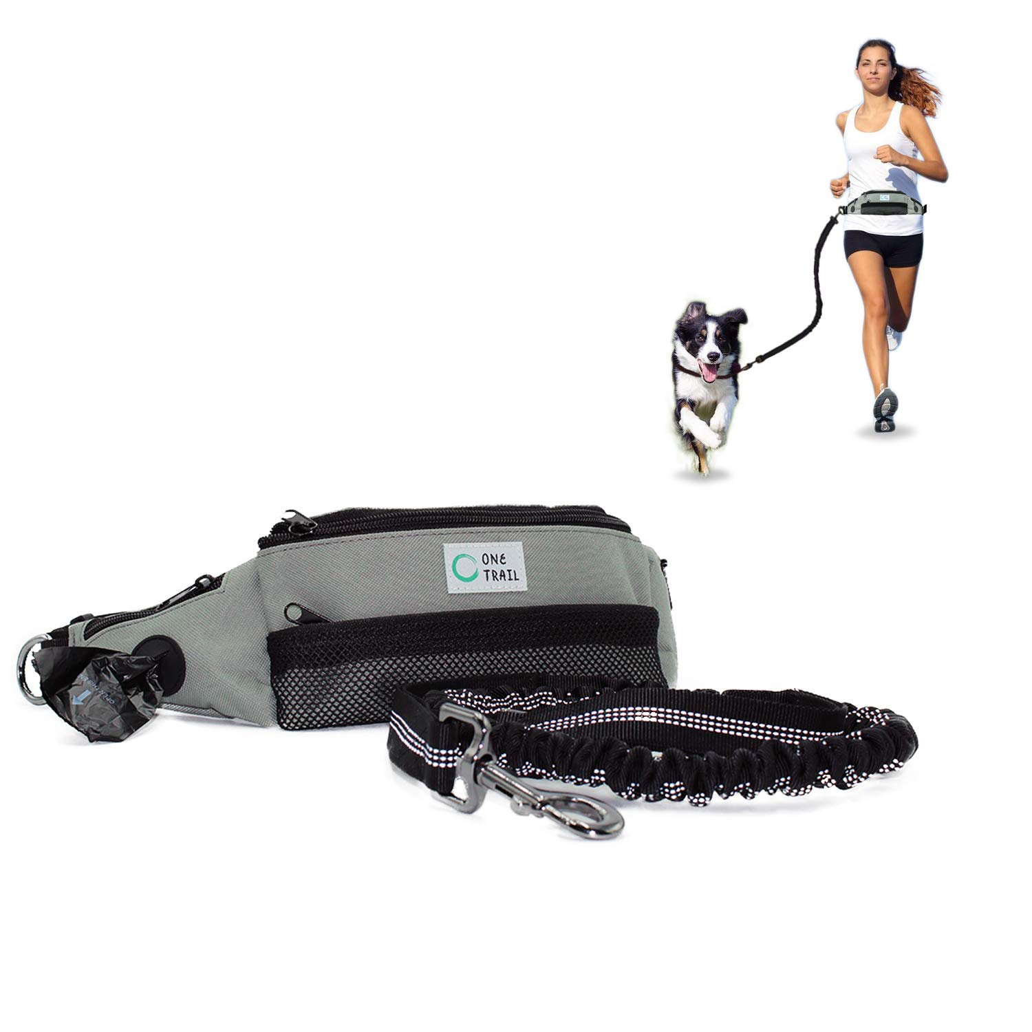 OneTrail Hands Free Dog Leash (Grey) | Bungee Leash | Unisex | Fits up to 50'' Waist | Machine Washable by OneTrail Gear