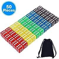 AUSTOR 50 Piezas Dados de 5 Colores Translúcidos