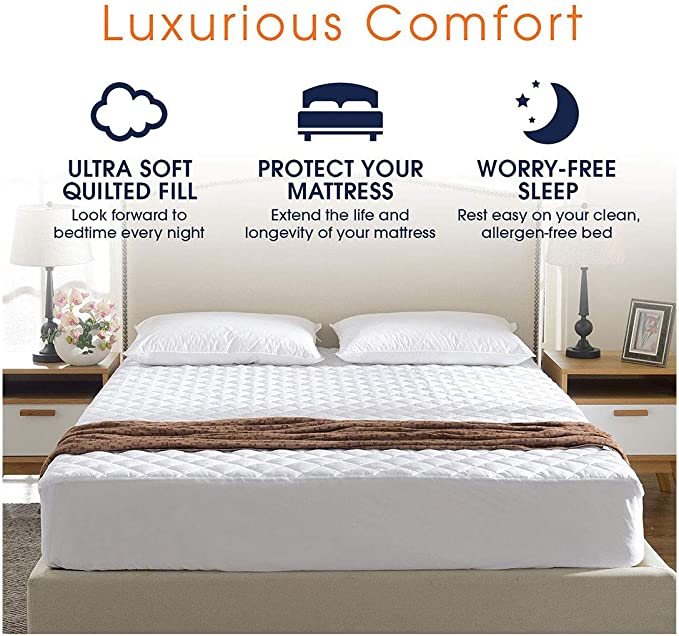 Breathable Anti Dustmite King Size Absorbent FAIRWAYUK Quilted Mattress Protector Hotel Quality Microfibre Protectors Super Soft