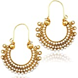 Adiva White Metal Hoop Earring For Women