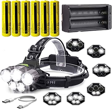 LED Headlight 12000 Lumen Head Lamp Flashlight Battery Charger For Camping