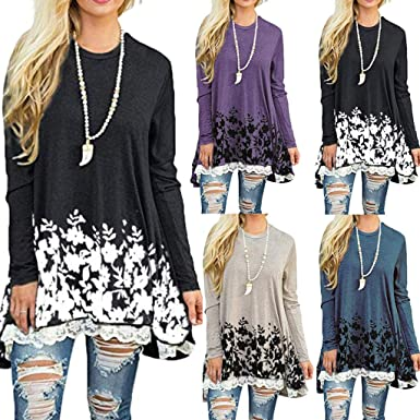 Vectry Blusas De Mujer Camisetas Larga Chica Camisetas Estampadas Mujer Camisetas Mujer Originales Camisetas Mujer Primavera Blusas Largas De Mujer Blusa: Amazon.es: Ropa y accesorios