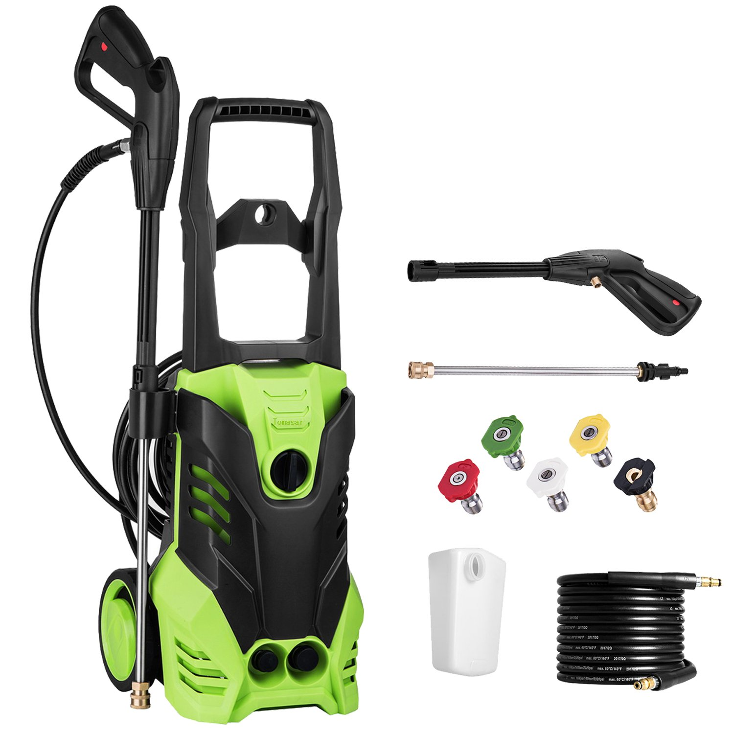 BPX4000 3000 PSI 1.76 GPM 14.5-Amp Electric Pressure Washer w/ Power Hose Nozzle Gun And 5 Quick-Connect Spray Tips by Binxin