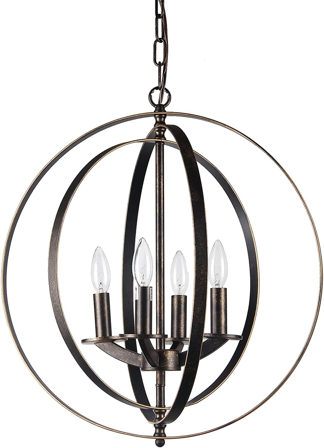 Edvivi 4-Light Antique Bronze Iron Rings Globe Sphere Orb Cage Chandelier Ceiling Fixture Modern Farmhouse Lighting