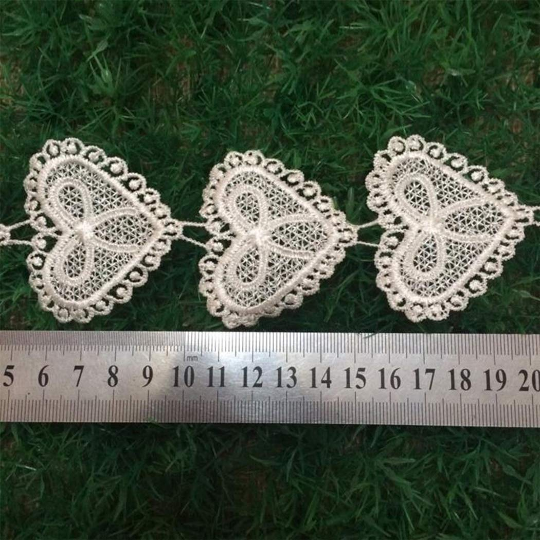JUSTDOLIFE 24PCS Lace Trims Assorted Heart Patterns Embroidery Lace Appliques Lace Patches