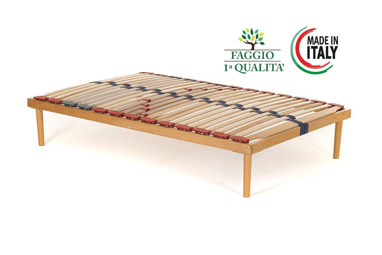 Materassimemory.eu Rete Singola modello Dynamic misura 80x190 in legno di faggio con doghe ammortizzate e basculanti e regolatori di rigidità zona lombare