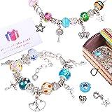 nuoshen Charm Bracelet Making Set for Girls,Silver Plated Bead Snake Chain Girls Gifts