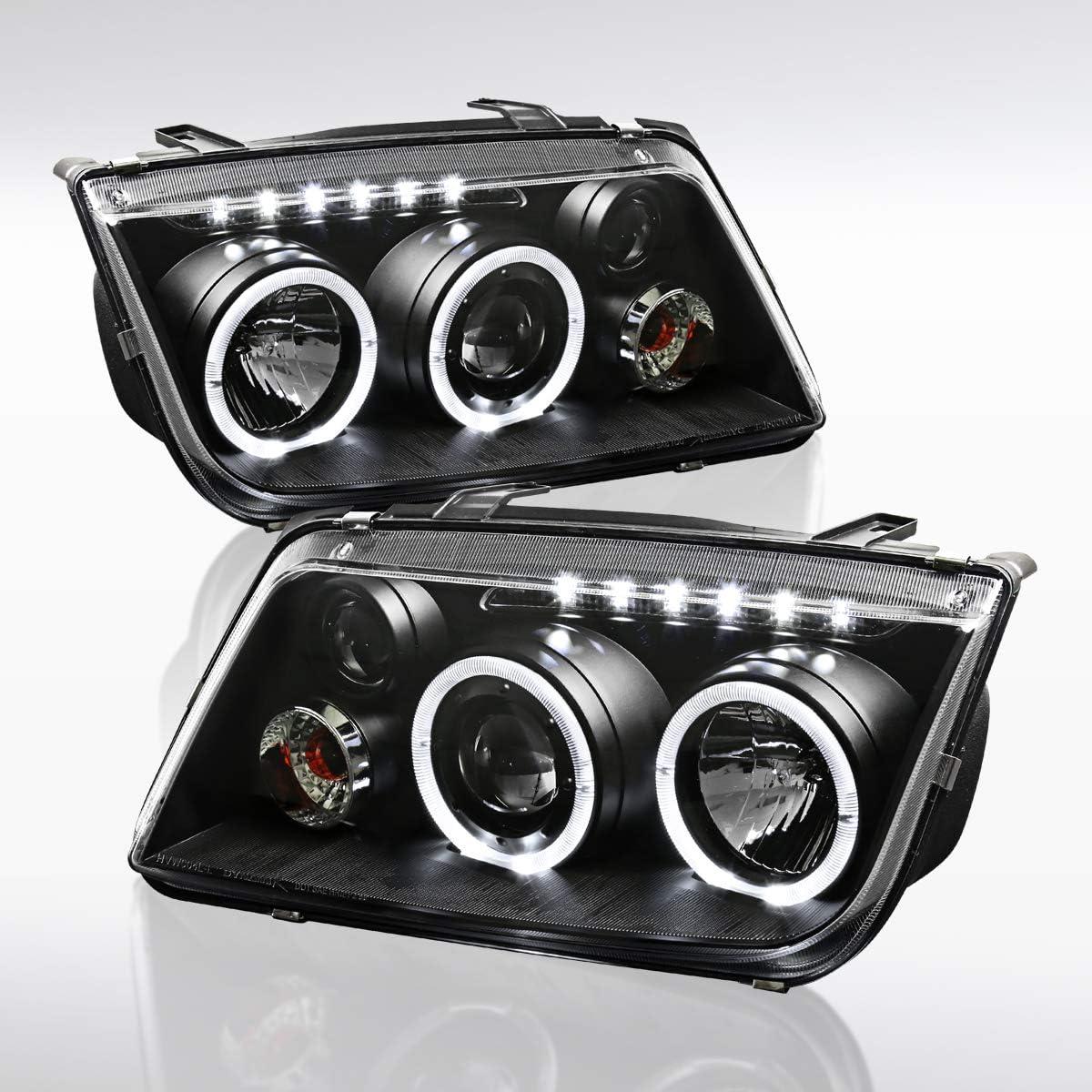 Autozensation For Volkswagen Jetta Bora Black LED Halo Projector Headlights Pair