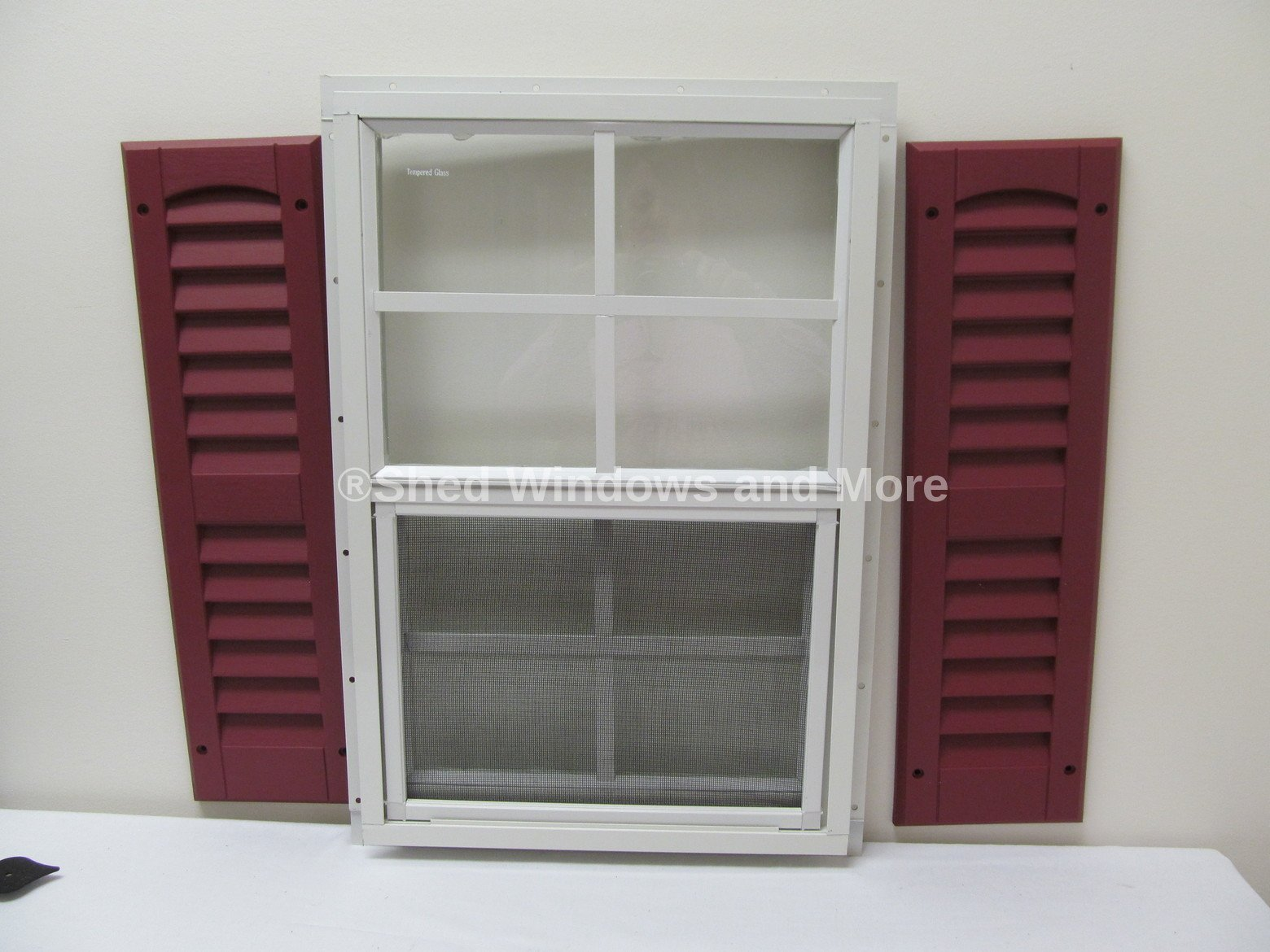 Shed Window with Shutters 14 X 21 White J-Channel Safety Glass Playhouse Window (Black) by Shed Windows and More (Image #1)