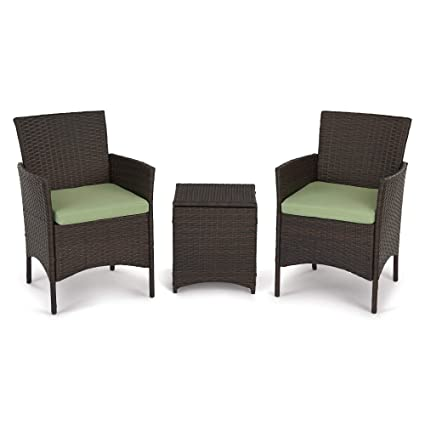 3 Pieces Outdoor Patio Porch Furniture Sets, PE Rattan Wicker Chair Patio  Sofa Set Green Cushion with Storage Table, Outdoor Garden & Patio Furniture  ...