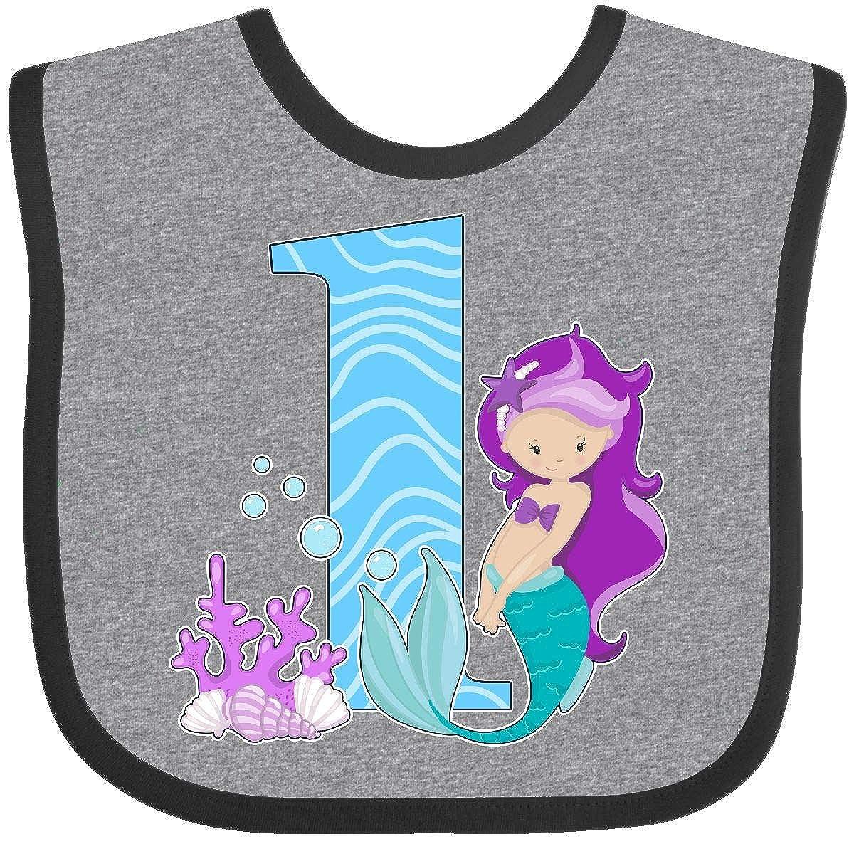 Inktastic - First Birthday- mermaid Baby Bib 2917c 14-168316-116-893-2993