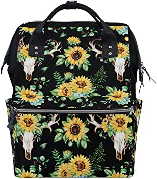 Womens Large Waterproof Maternity Baby Nappy Bags Diaper Bag Backpack Sunflower