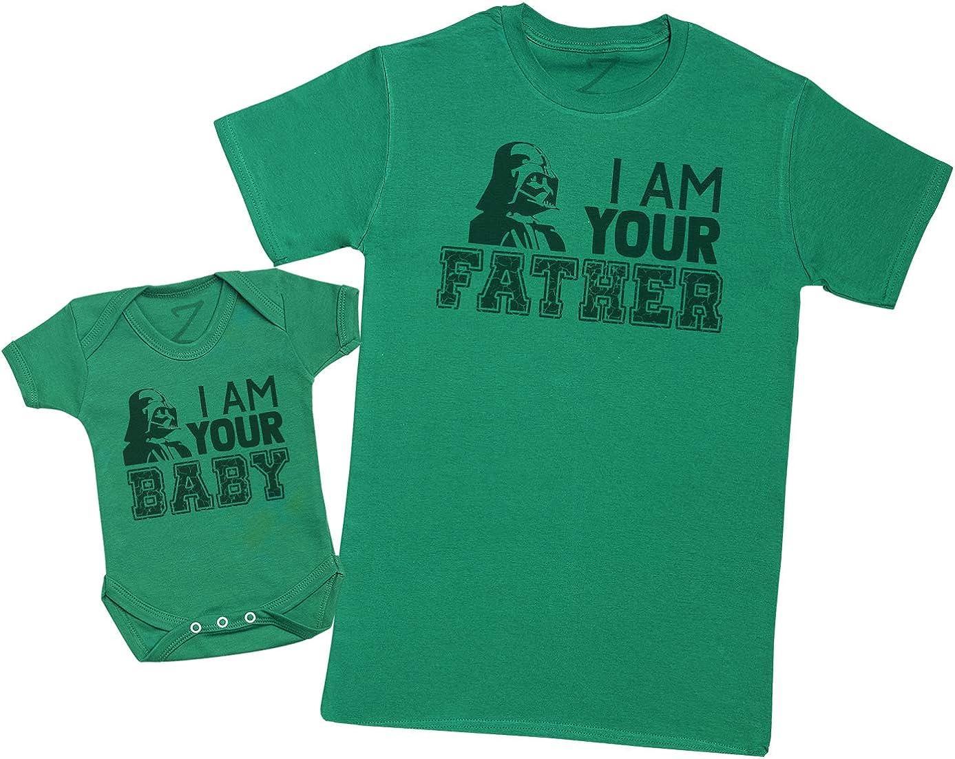 Zarlivia Clothing I Am Your Baby I Am Your Father Regalo para Padres y beb/és en un Cuerpo para beb/és y una Camiseta de Hombre a Juego