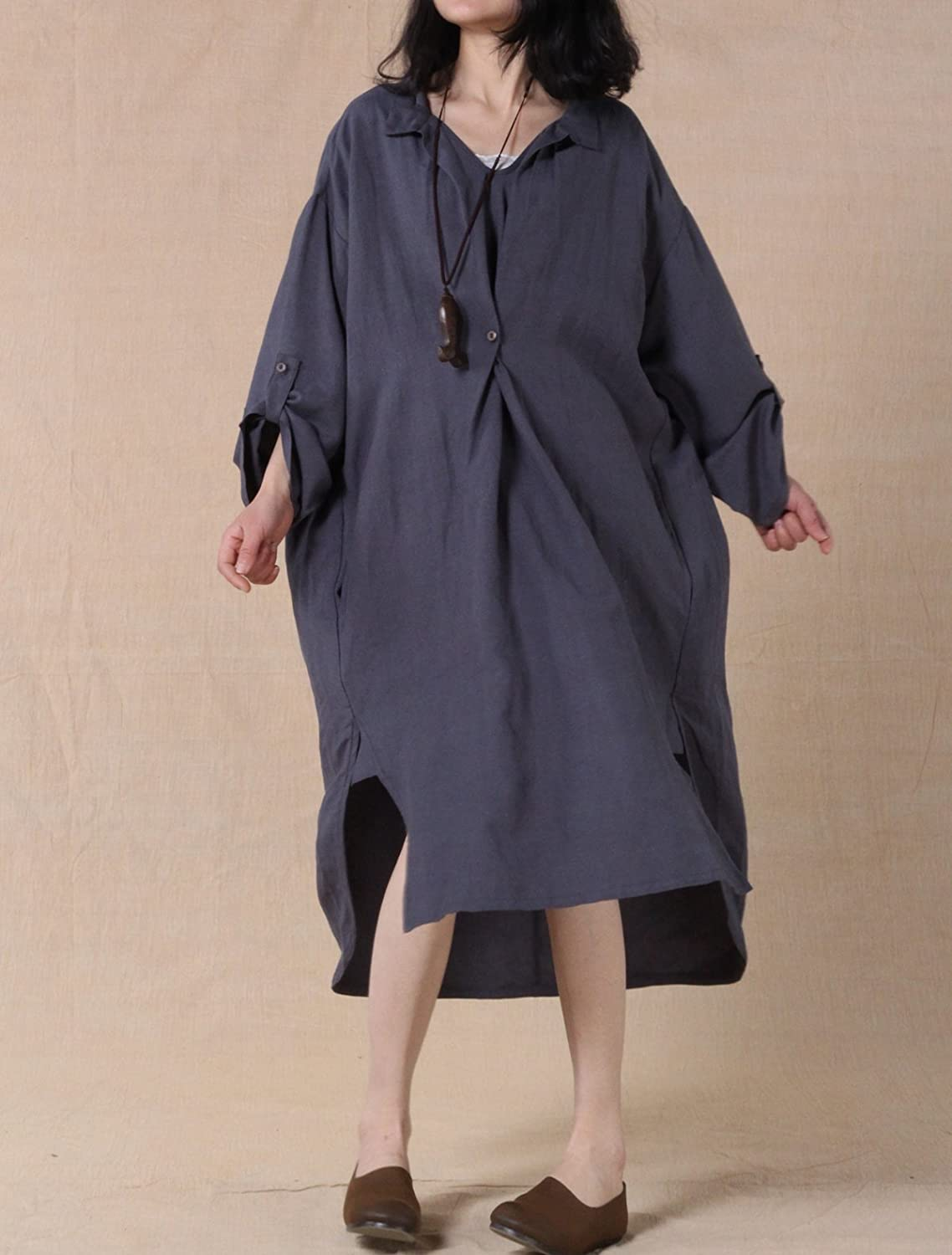 Mordenmiss Womens New Hi-Low Hem Plus Size Dresses with Pockets