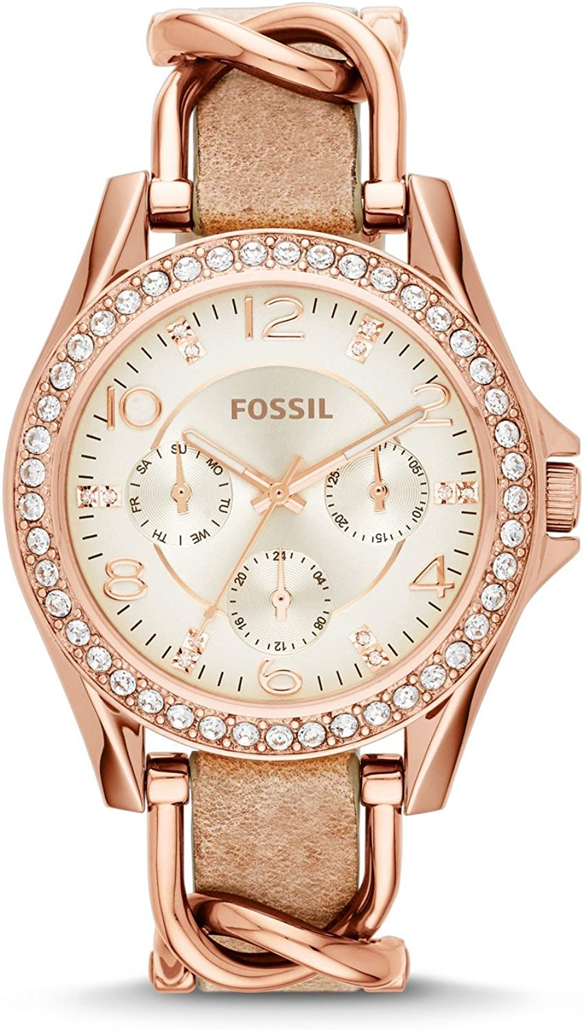 Fossil Women Riley Quartz Stainless Steel and Leather Multifunction Watch, Color Rose Gold, Tan Model ES3466