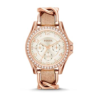0109f136097 FOSSIL Riley Multifunction Rose-Tone and Sand Watch – Women s Analogue  Quartz Wrist Watch with