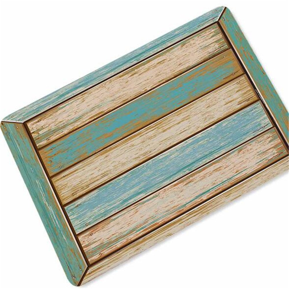 OHYESS Multi-Sized Vintage Wood Board Plank Rubber Non-Slip Decoration Household Bedroom Kitchen Indoor Outdoor Floor Mat Bathroom Home Rug Area Doormat (16*24)