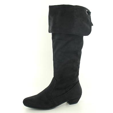 Spot on Damen Stiefel mit Schaftabschluss Zum Krempeln, kniehoch (39 EU) (Schwarz)
