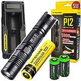 NITECORE P12 1000 Lumens CREE LED tactical flashlight w/ Niteocre UM10 USB charger, Nitecore NL186 2600mAh rechargeable 18650 Battery and 2 X EdisonBright CR123A Lithium Batteries Bundle