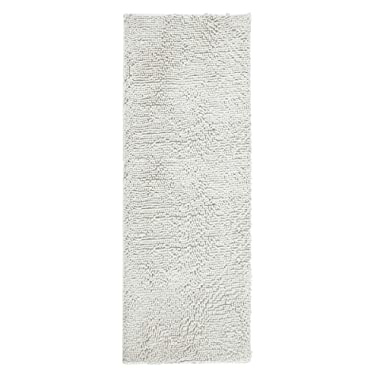 ITSOFT Non Slip Shaggy Chenille Soft Microfibers Bathroom Rug with Water Absorbent, Machine Washable, 21 x 59 Inches Light Gray