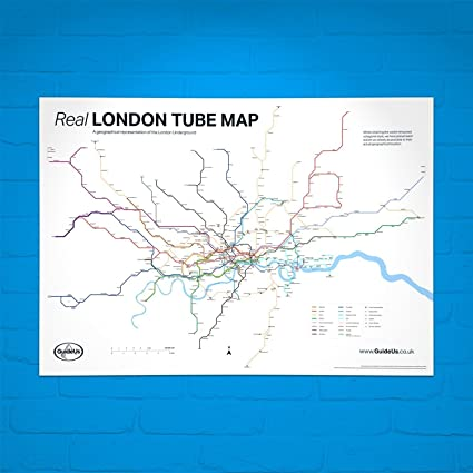 Map Of London Underground System.Real London Tube Map Poster A Geographical Representation Of The