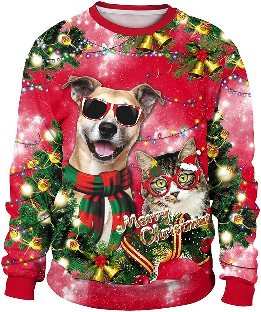 Red Pullover for Women Cute Deers Cartoon Printed Hoodies Girls Sweatshirt for Christmas