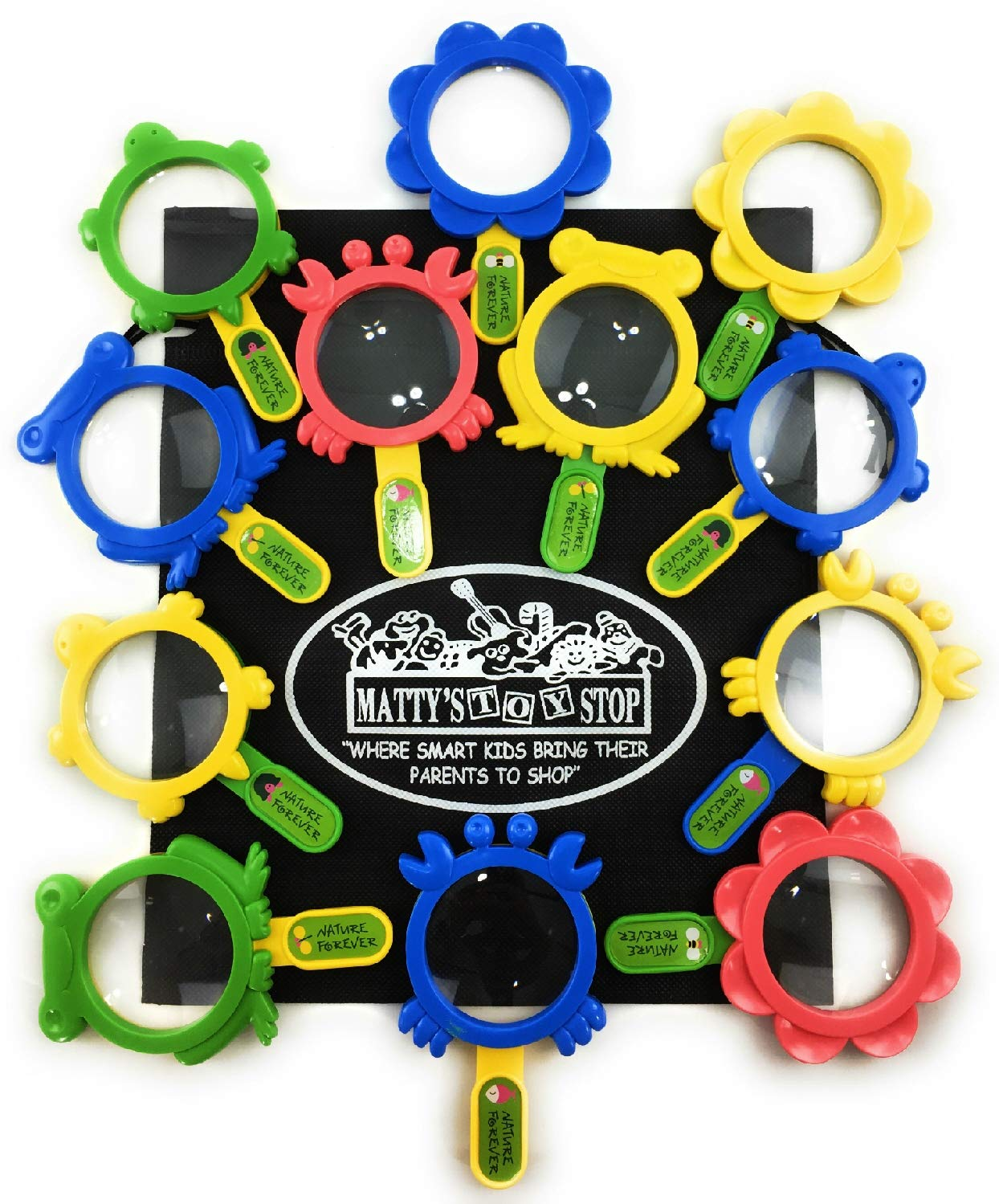 Schylling Plastic Magnifying Lens (5'') Complete Bulk Classroom/Party Favor Set Featuring Turtle, Crab, Flower & Frog Designs...Plus Bonus Matty's Toy Stop Storage Bag - 12 Pack