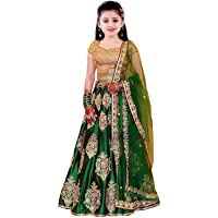 Clothesshop Girl's Silk Semi-Stitched Lehenga Choli (Green, 8-13 Years)