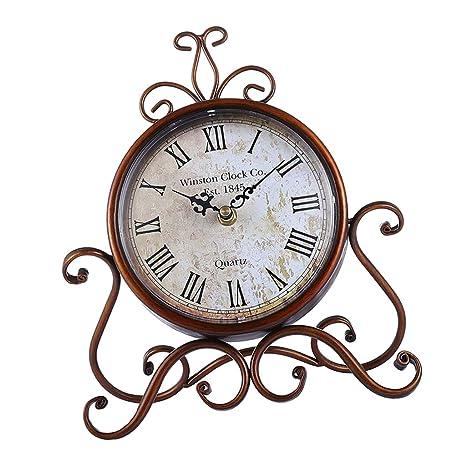 KESOTO Reloj de Dos Caras Ornamento Decorativo de Mesa Alimentado por Pila - Marrón