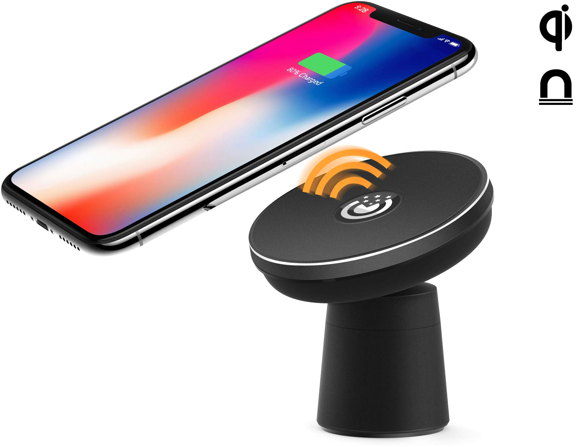 Magnetic Wireless Car Charger,Wireless Charging Samsung S8 S8+ S8 Plus S7 S7 Edge S6 Edge Plus Note 5 Note 7 Note 8 All QI-Enabled Devices (Nano Fast Charger)
