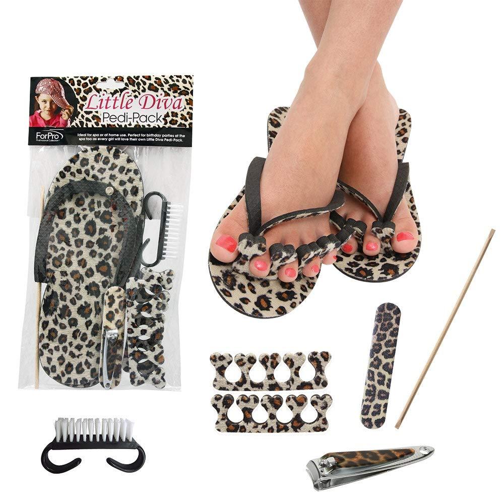 ForPro Little Diva Pedi-Pack, 6-Piece Pedicure Kit for Girls, Leopard Print