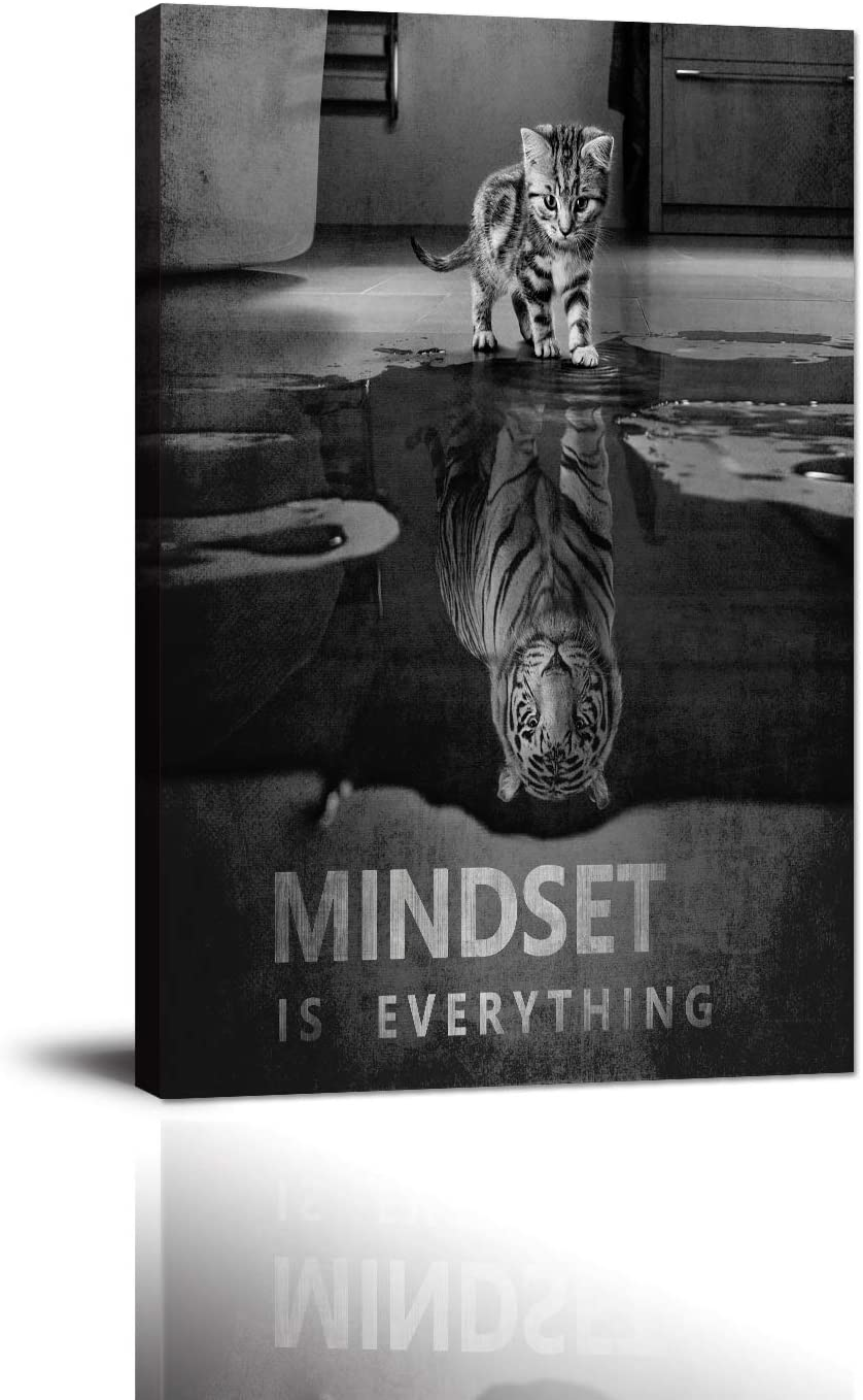 "Cat Tiger Canvas Wall Art Inspirational Entrepreneur Quotes Poster Mindset is Everything Motivational Painting Picture HD Print Artwork for Living room Bedroom Office Home Decor Framed (12""Wx18""H)"